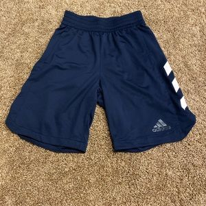 Adidas shorts, men's small, navy blue with white
